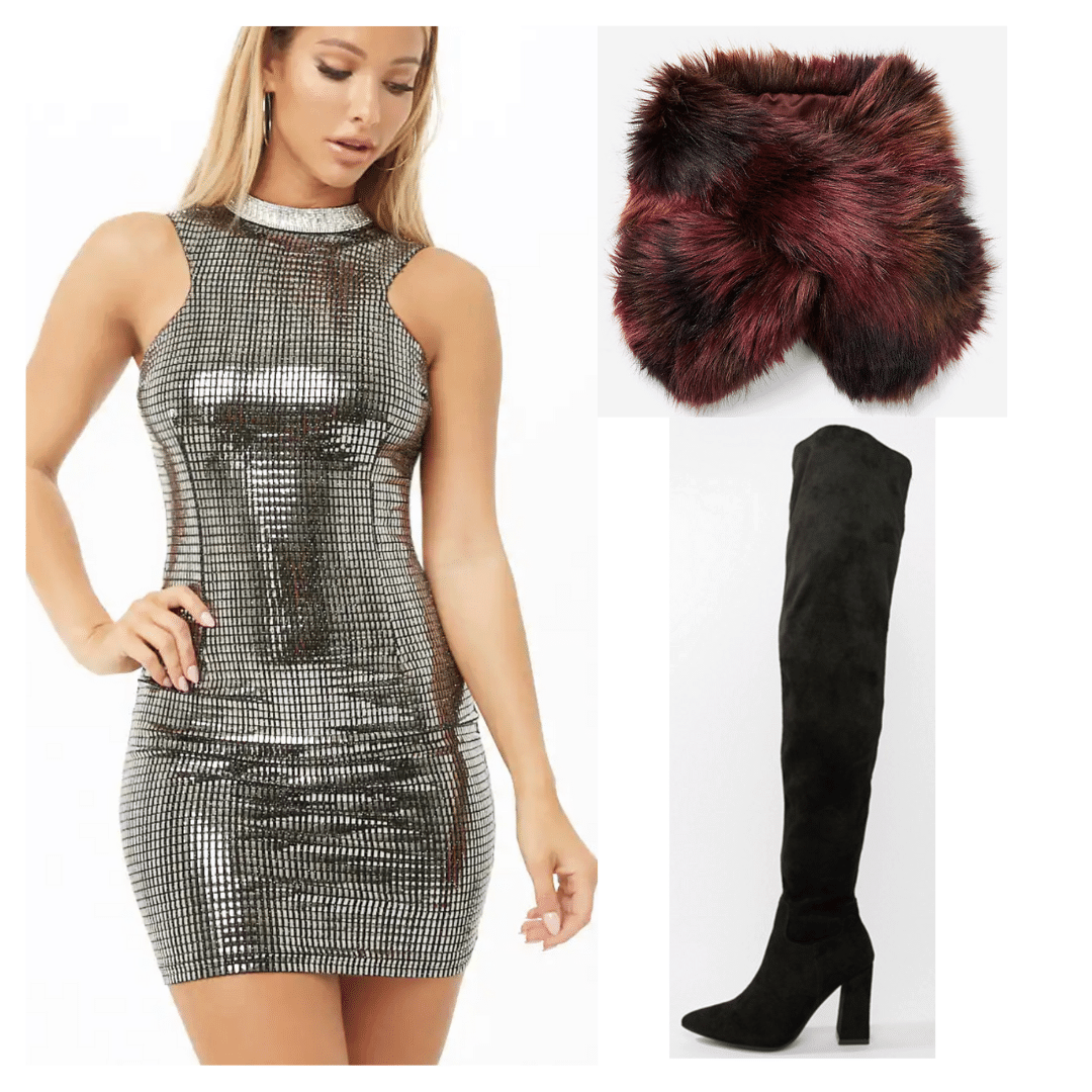 Outfit inspired by Beyonce in the 2000s with silver dress, burgundy fur stole, and over the knee boots