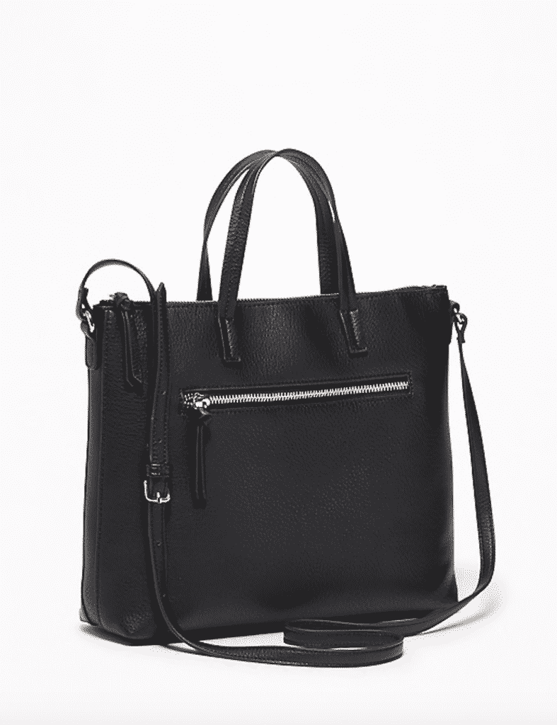 Black faux leather handbag with silver zippers