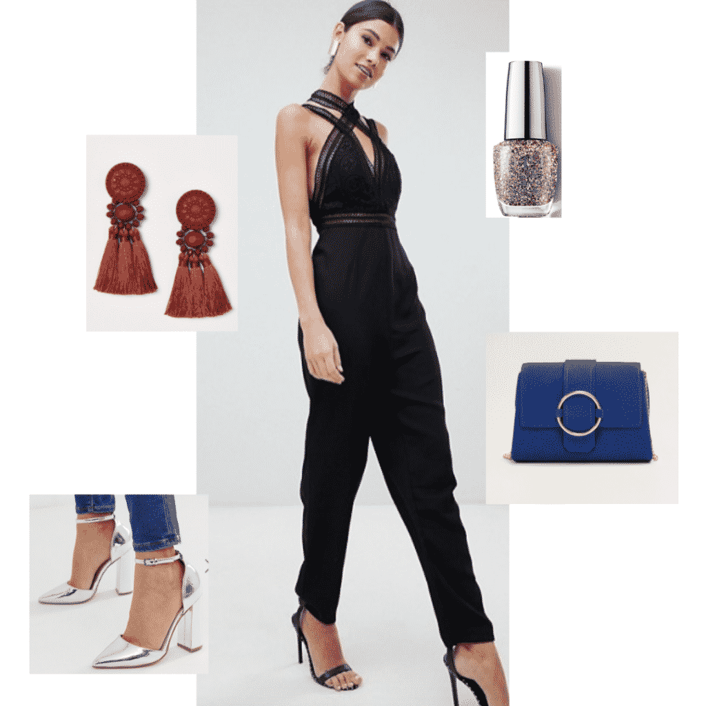 Outfit inspired by Black Panther with black jumpsuit, blue clutch, silver heels, red earrings, glitter nail polish