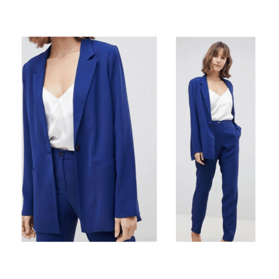 Cobalt blue blazer and pants