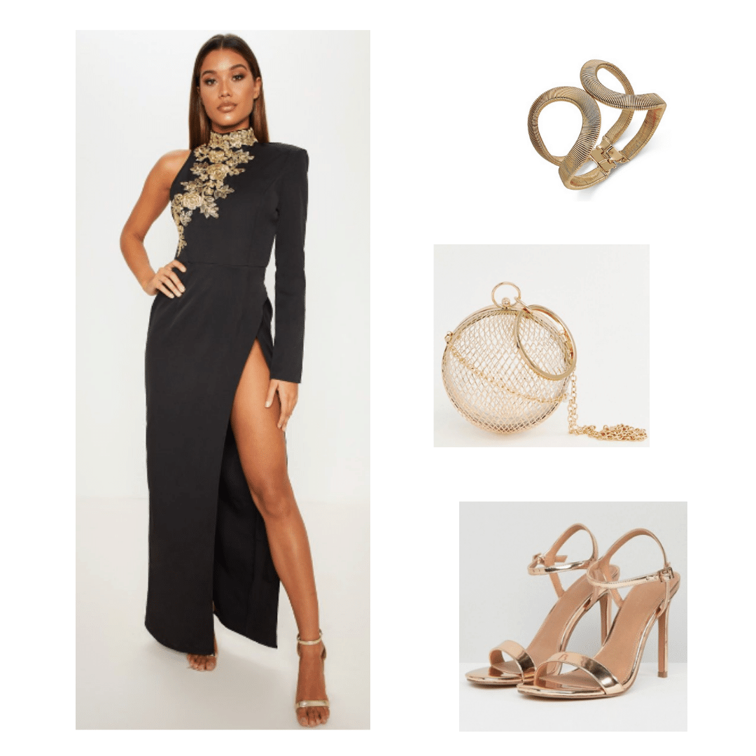 BTS inspired outfit with black and gold gown, gold accessories, and gold shoes