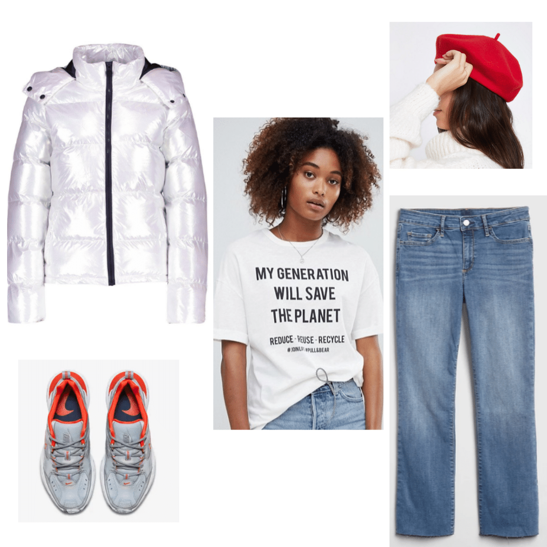 BTS inspired outfit with silver puffer jacket, blue jeans, My Generation Will Save this Planet tee, red beret, and gray sneakers