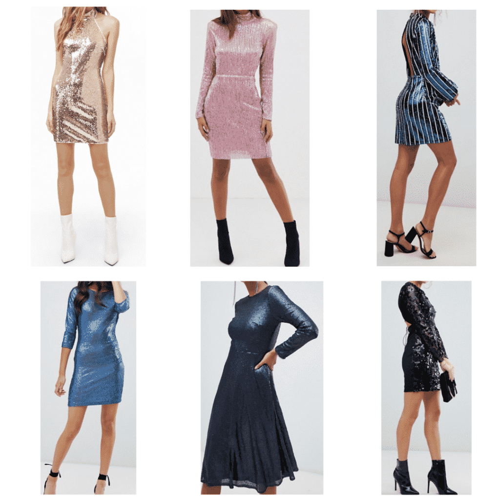 Sequin Dresses: Halter Dress, Body Con Dress, Long Sleeve Dress, Fit and Flare Dress, Striped Dress, Lace Back Dress