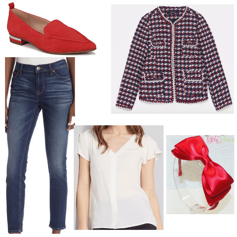 Preppy outfit for school with tweed jacket, flutter sleeve blouse, bow headband, red loafer flats, and ankle jeans