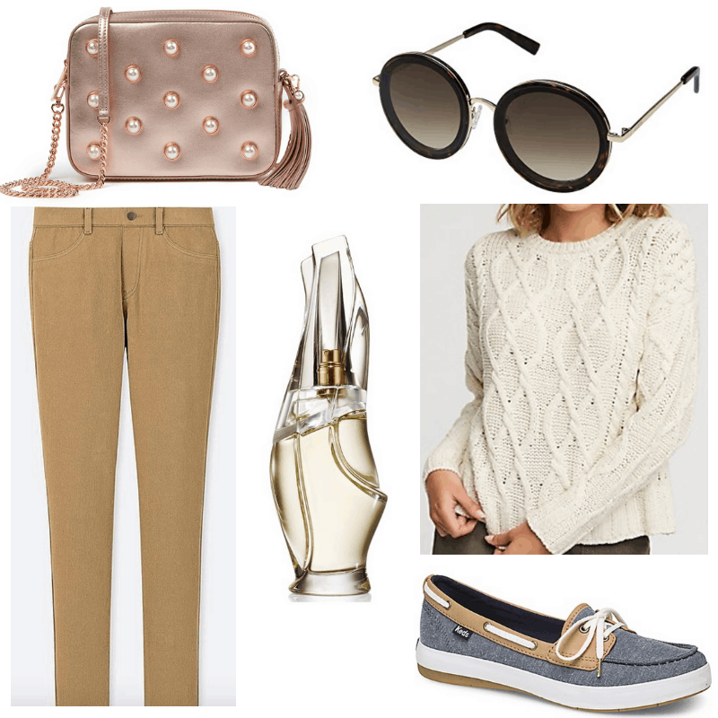 How to wear round sunglasses: Outfit with tan trousers, cream cable knit sweater, boat shoes, rose gold bag
