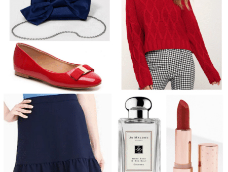 New England Patriots fan super bowl outfit with red top, navy blue skirt, red flats, red lipstick, navy bow purse