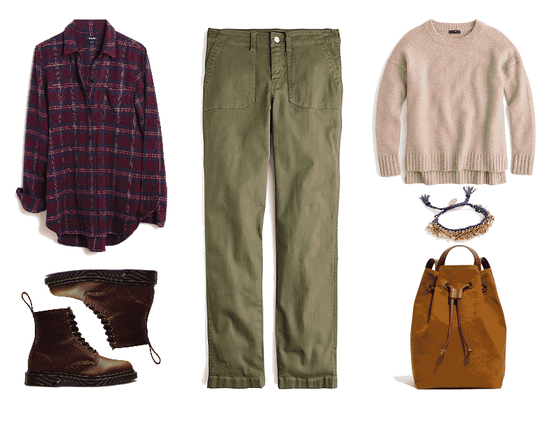 Outfit #1: Preppy featuring burgundy plaid flannel shirt, brown Dr. Martens boots, straight-leg olive chino pants, oversized beige sweatshirt, blue woven bracelet with gold stars, light brown drawstring canvas backpack with leather details