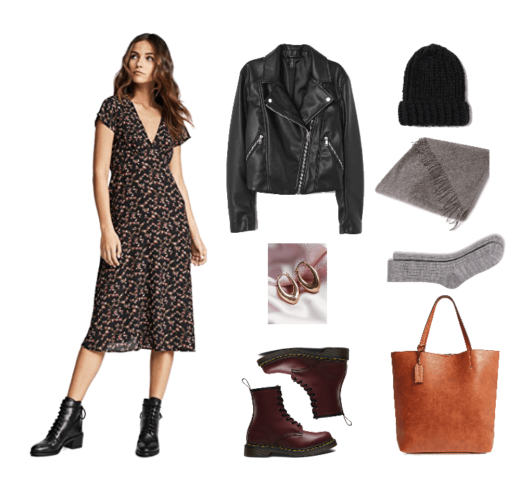 Outfit #2: Grunge featuring black deep v-neck short-sleeved floral midi dress, black motorcycle jacket, thick gold hoop earrings, burgundy Dr. Marten boots, black knit beanie with fold-over brim, gray fringed scarf, gray ribbed crew socks, cognac brown tote