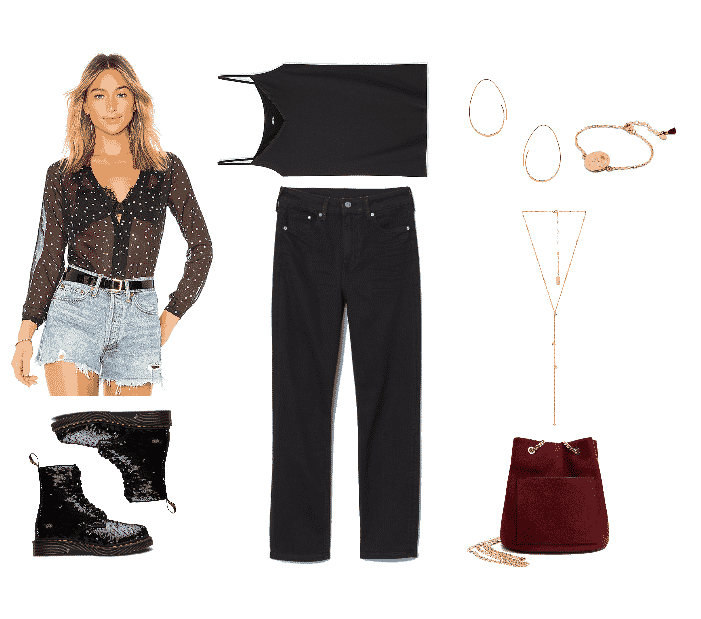 Outfit #4: Modern Glam featuring sheer black blouse with allover white star print, black sequined Dr. Martens boots, black camisole, black slim-leg jeans, gold egg-shaped hoop earrings, gold coin bracelet, gold lariat necklace, burgundy chain-strap bag