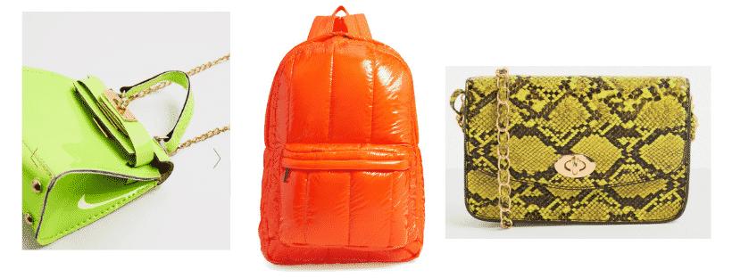 Neon trend for spring - Neon bags: Green neon crossbody bag, neon orange backpack, green neon snakeskin chain strap bag
