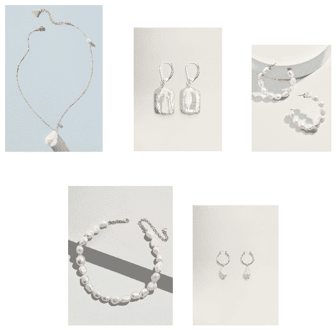 (Top Row, L-R) Large Baroque Pearl Pendant Necklace with Small Rhinestone Star Charm and Smaller Pearl at Far Right Side, Rectangular Baroque Pearl Drop Earrings, Large Baroque Pearl Hoop Earrings (Bottom Row, L-R) Pink Baroque Pearl Statement Necklace, Small Hoop Earrings with Dangling Baroque Pearl