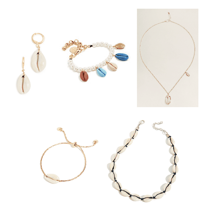 (Top Row, L-R) Small Hoop Earrings with Cowrie Shell, Pearl Bracelet with Multi-Colored Cowrie Shells, Cowrie Shell Pendant Necklace with Gold Accent and Small Gold Cowrie Shell at Right Side (Bottom Row, L-R) Gold Adjustable Bracelet with Cowrie Shell, Cowrie Shell Necklace