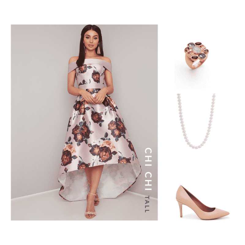 Outfit #3 featuring dusty pink off-the-shoulder dress with large floral print and high-low hem, gold cocktail ring with multi-colored stones, pearl necklace, beige pointed-toe heel