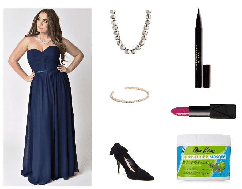 Tahani Al-Jamil Outfit #1 featuring navy blue strapless chiffon gown, statement necklace with clear stones, skinny cuff bracelet with clear stones, black heel with bow detail at back, black liquid eyeliner, muted fuchsia lipstick, face mask