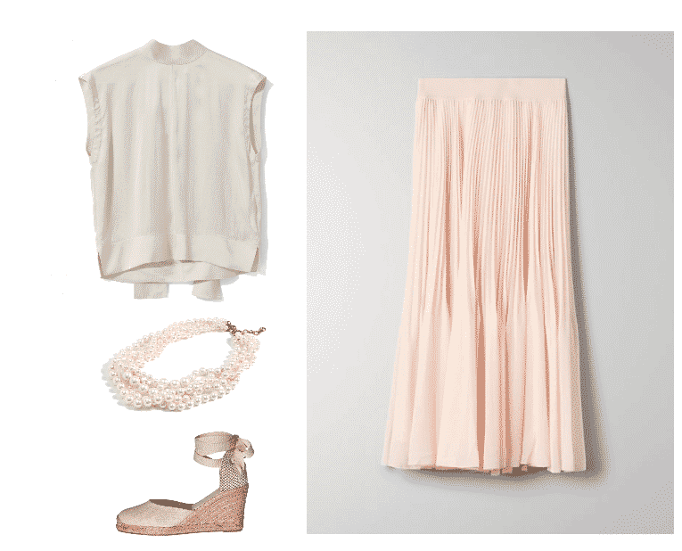 Tahani Al-Jamil style outfit #2 featuring sleeveless high-neck off-white blouse in off-white with tie at back, multi-strand twisted pearl necklace, pink-y-beige espadrille wedge with tie at ankle, pale pink pleated midi skirt