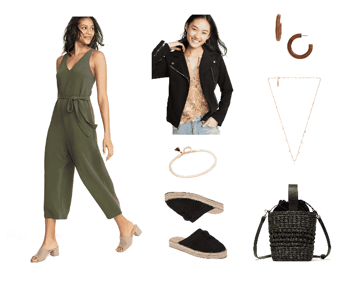 Outfit #1 featuring olive-green sleeveless v-neck jumpsuit with tie-waist and cropped leg, black twill motorcycle jacket, gold chain bracelet, black espadrille mules with knot detail, large wooden hoop earrings, gold necklace with dangling pearls and white clear stones, black mini raffia basket bag with faux-leather handles and fabric interior