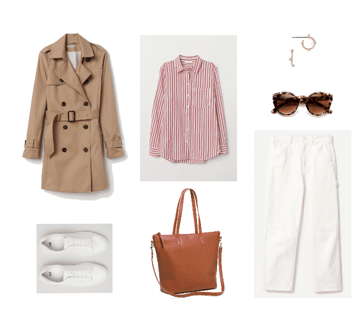 Outfit #2 featuring beige knee-length trench coat, white sneakers, red-and-white striped shirt, cognac brown faux-leather tote, gold on-the-ear hoop earrings with circular accentd, rounded cat-eye sunglasses with tortoise pattern, off-white high-waisted, straight-leg cropped pants
