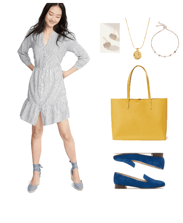Outfit #3 featuring long-sleeved blue-and-white striped shirt-dress, pale green faceted stud earrings, gold necklace with circular moon and star pendant with small clear stones, gold adjustable bracelet with multi-colored stones, bright yellow tote, cerulean blue loafers