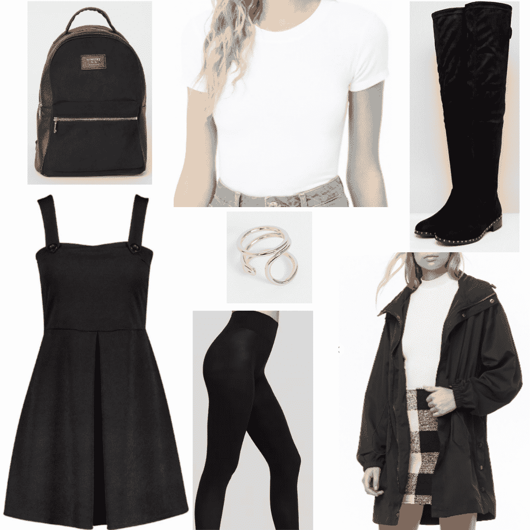 How to wear overall dress - outfit for class with black overall dress, black tights, white tee shirt, simple ring, black boots, backpack
