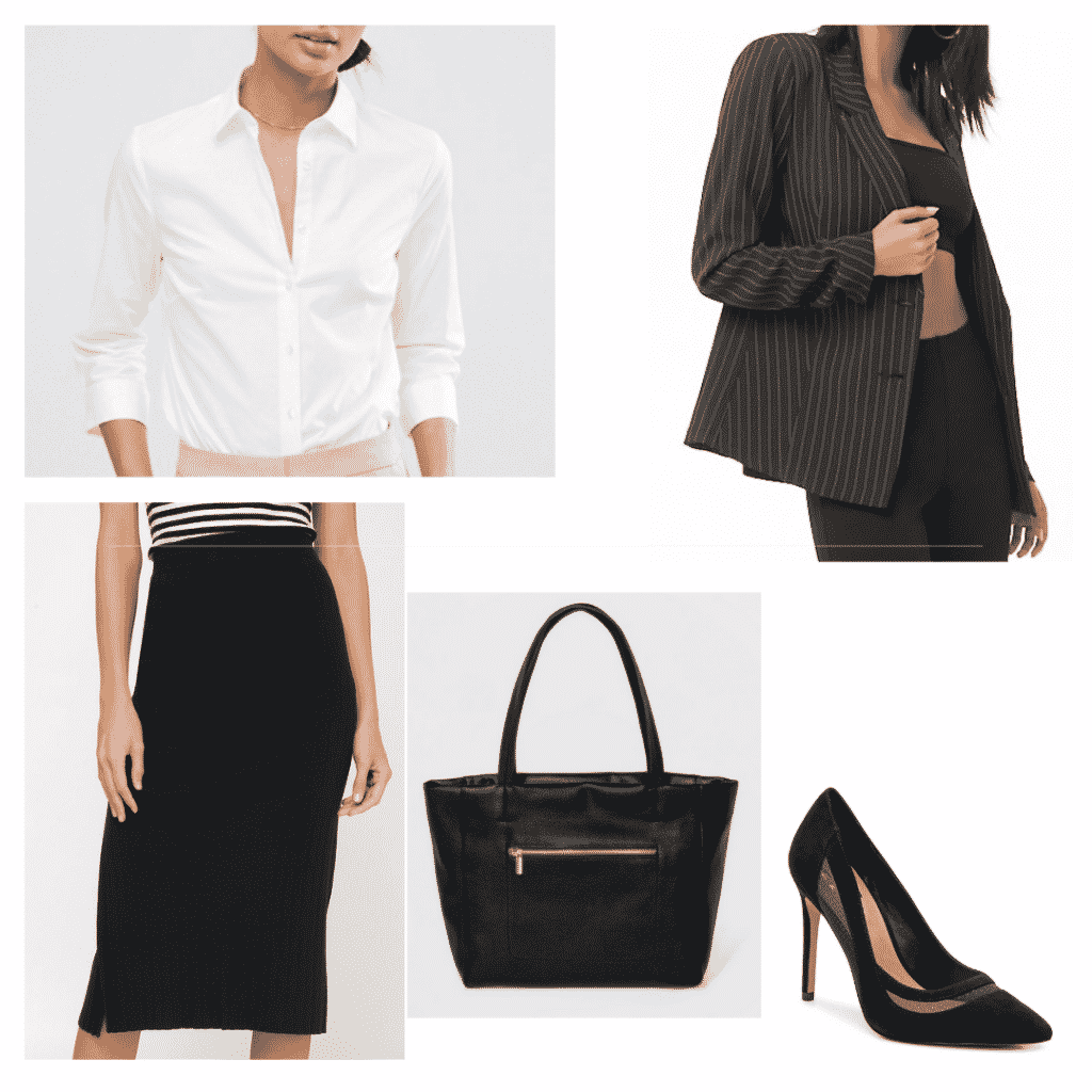 Classic business outfit set- white blouse, black pencil skirt, black bag, black heels, pinstripe blazer