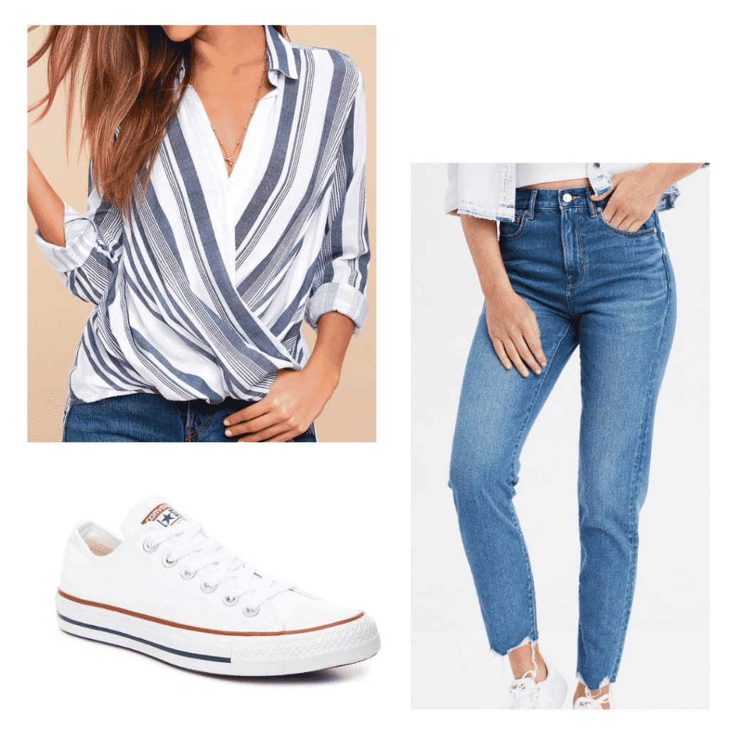 Classic outfit for class: blue striped blouse, blue jeans, white converse