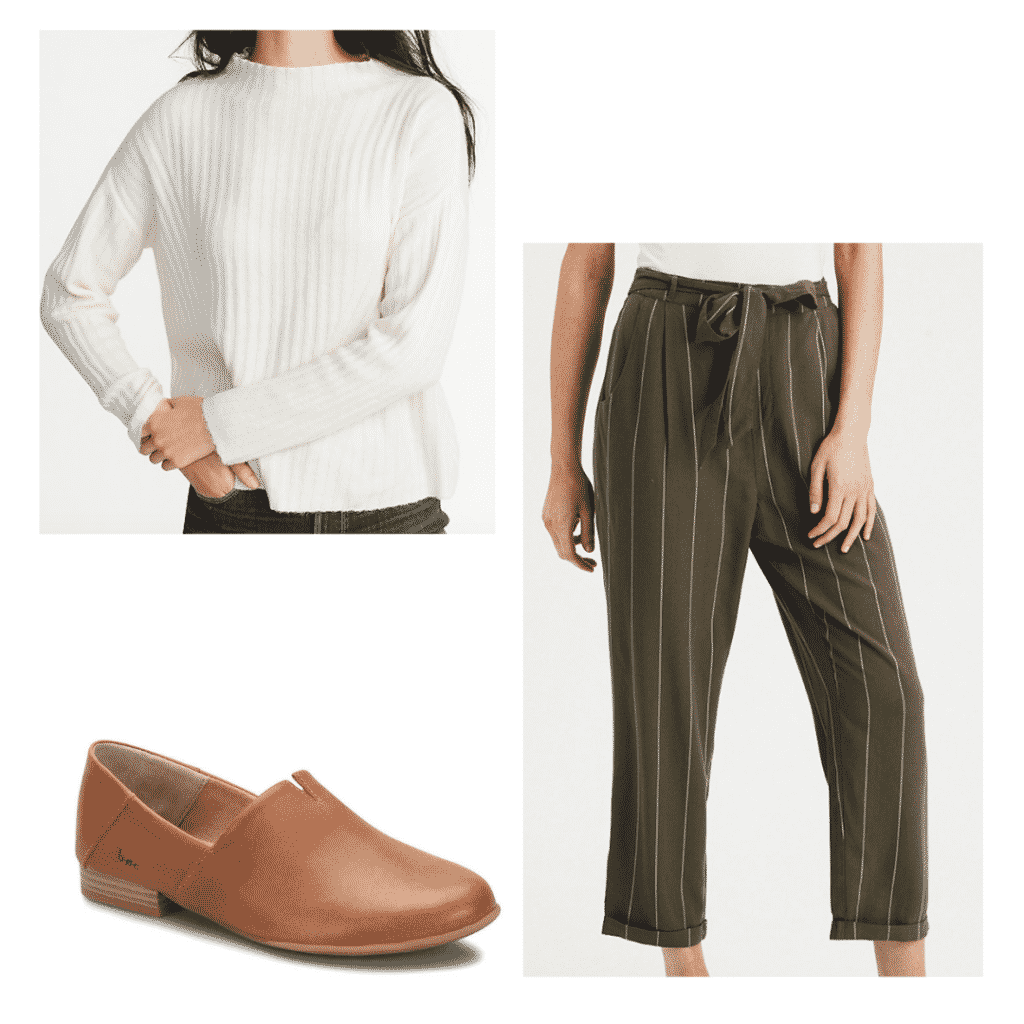 Classic dinner outfit set- white sweater, olive and white pants, brown loafers