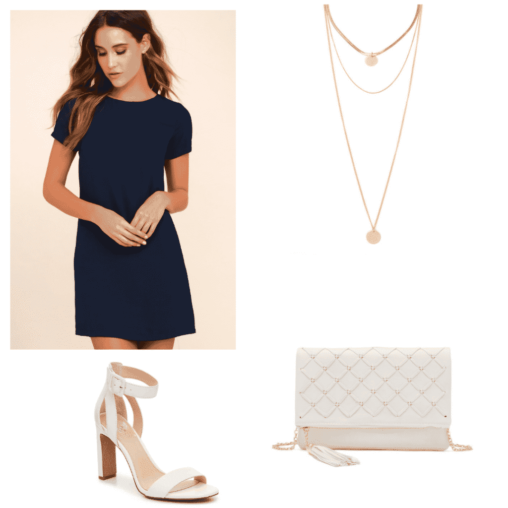 Classic fancy outfit set- blue dress, gold necklace, white shoes, and white bag