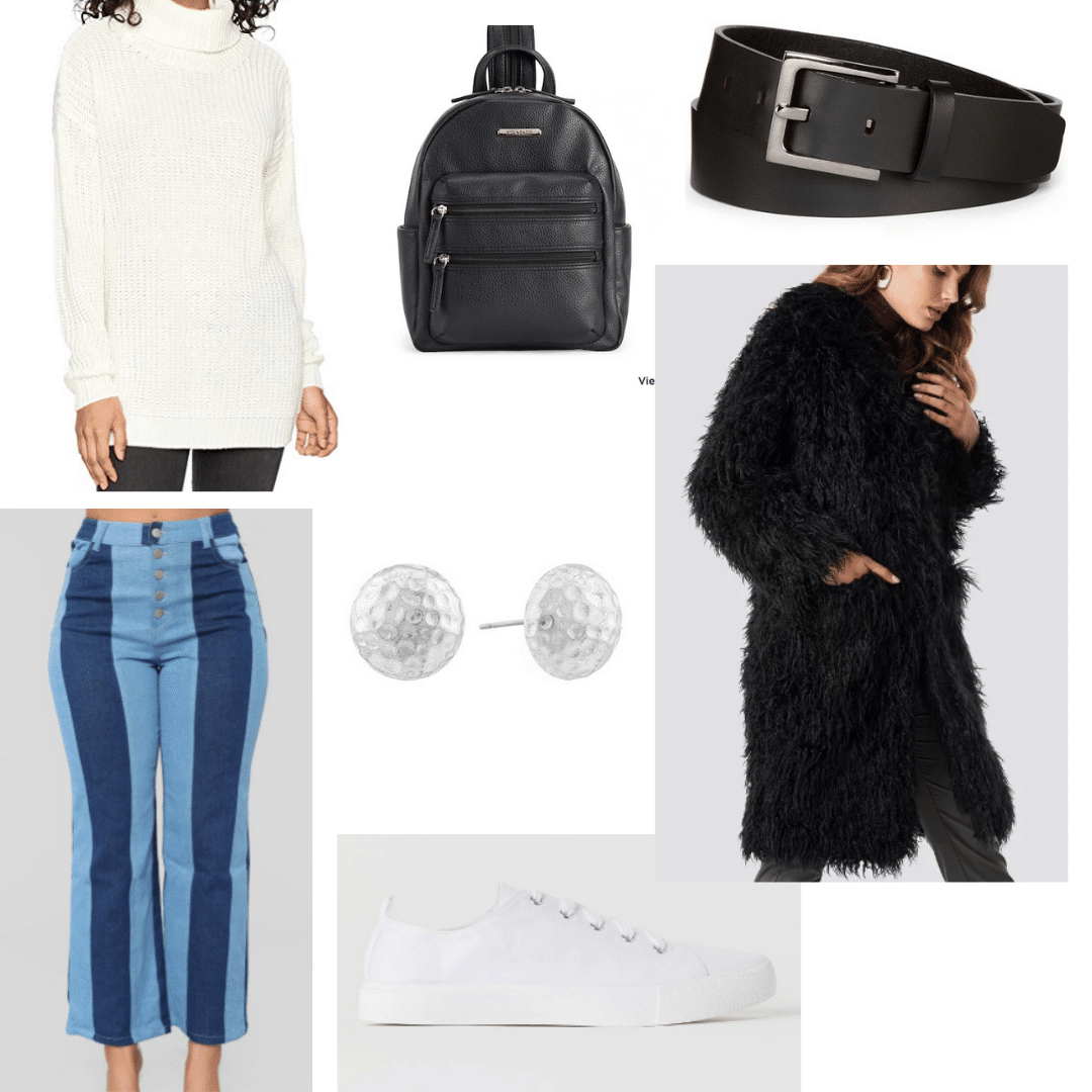 How to wear colorblock jeans to class: Daytime outfit with colorblock jeans, white turtleneck sweater, faux fur coat, black backpack, black belt, stud earrings, white sneakers