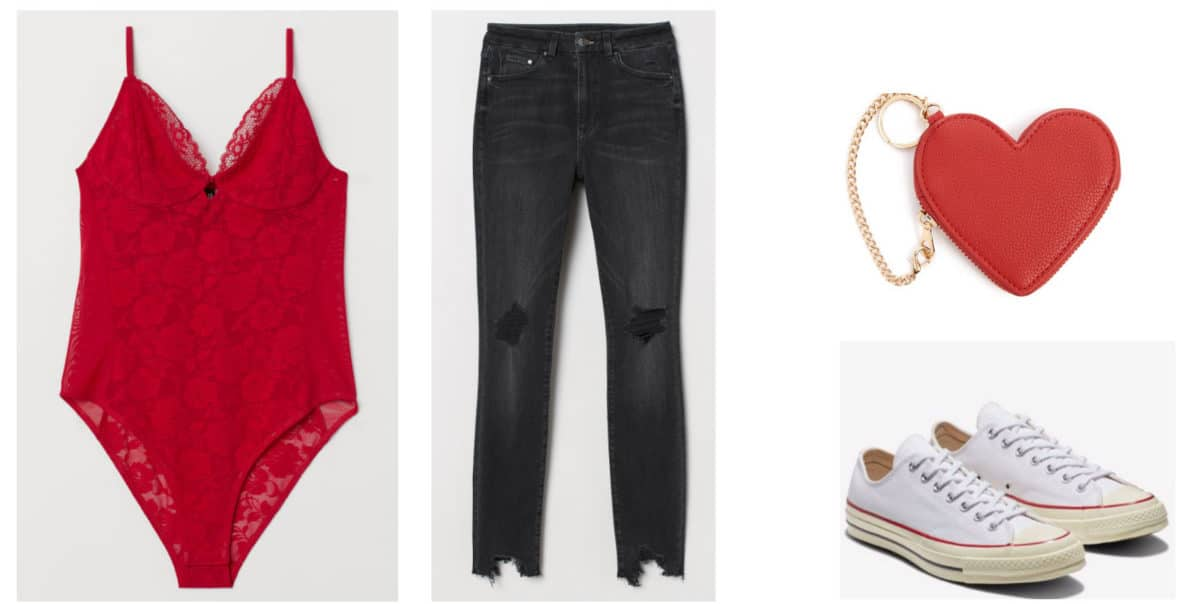 Cute Valentine's Day outfit idea for Galentine's drinks with red bodysuit, black jeans, Converse, and heart shaped purse