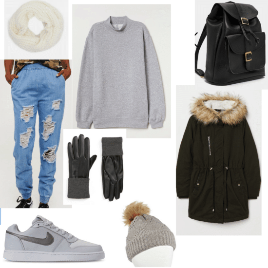 Cute outfit for class with denim joggers, faux fur puffer coat, Nike sneakers, gloves