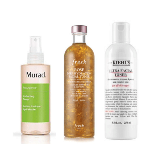 Best toners for dry skin - Murad Hydrating toner, Fresh rose facial toner, and Kiehl's ultra facial toner