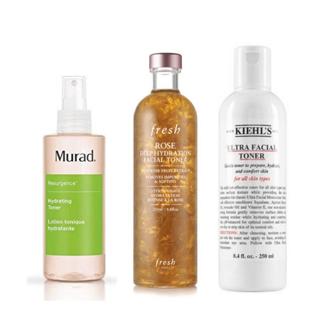 Best toners for dry skin - Murad Hydrating toner, Fresh rose facial toner, and Kiehl's ultra facial toner