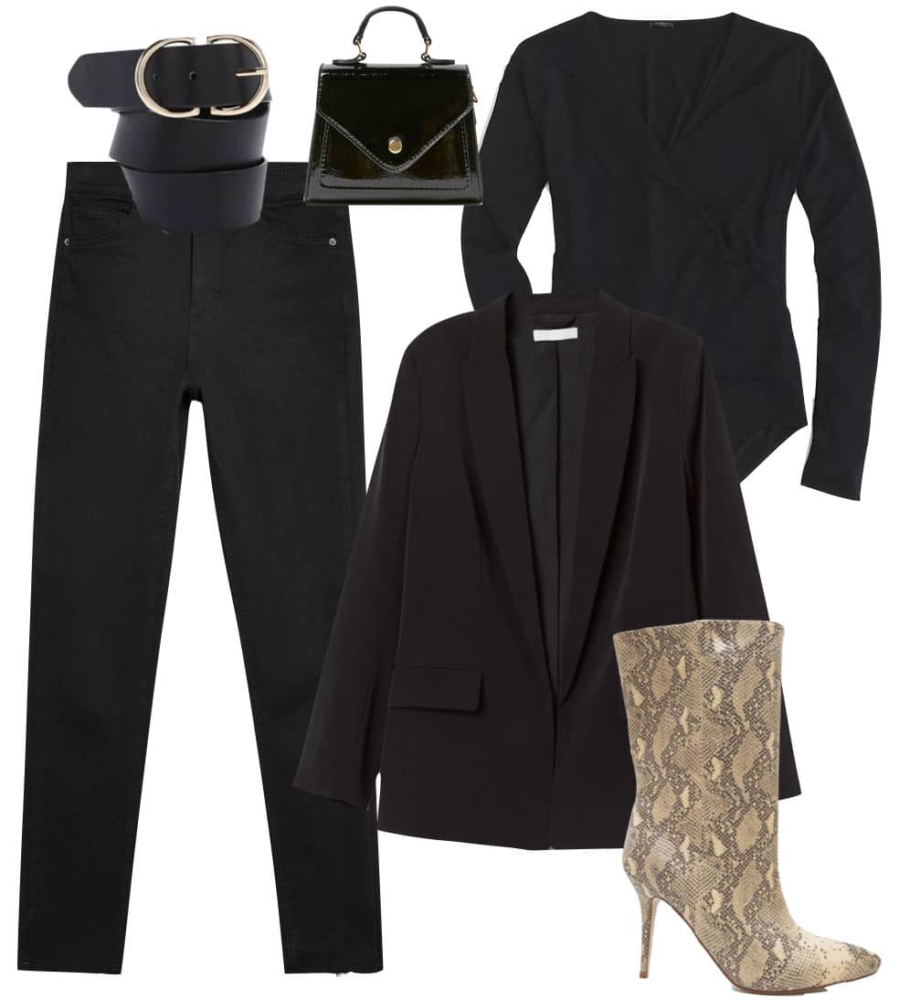 Emily Ratajkowski Outfit: black wrap bodysuit, black straight cut blazer, black high rise skinny jeans, black and gold belt, black mini handbag, and snake print mid-calf booties