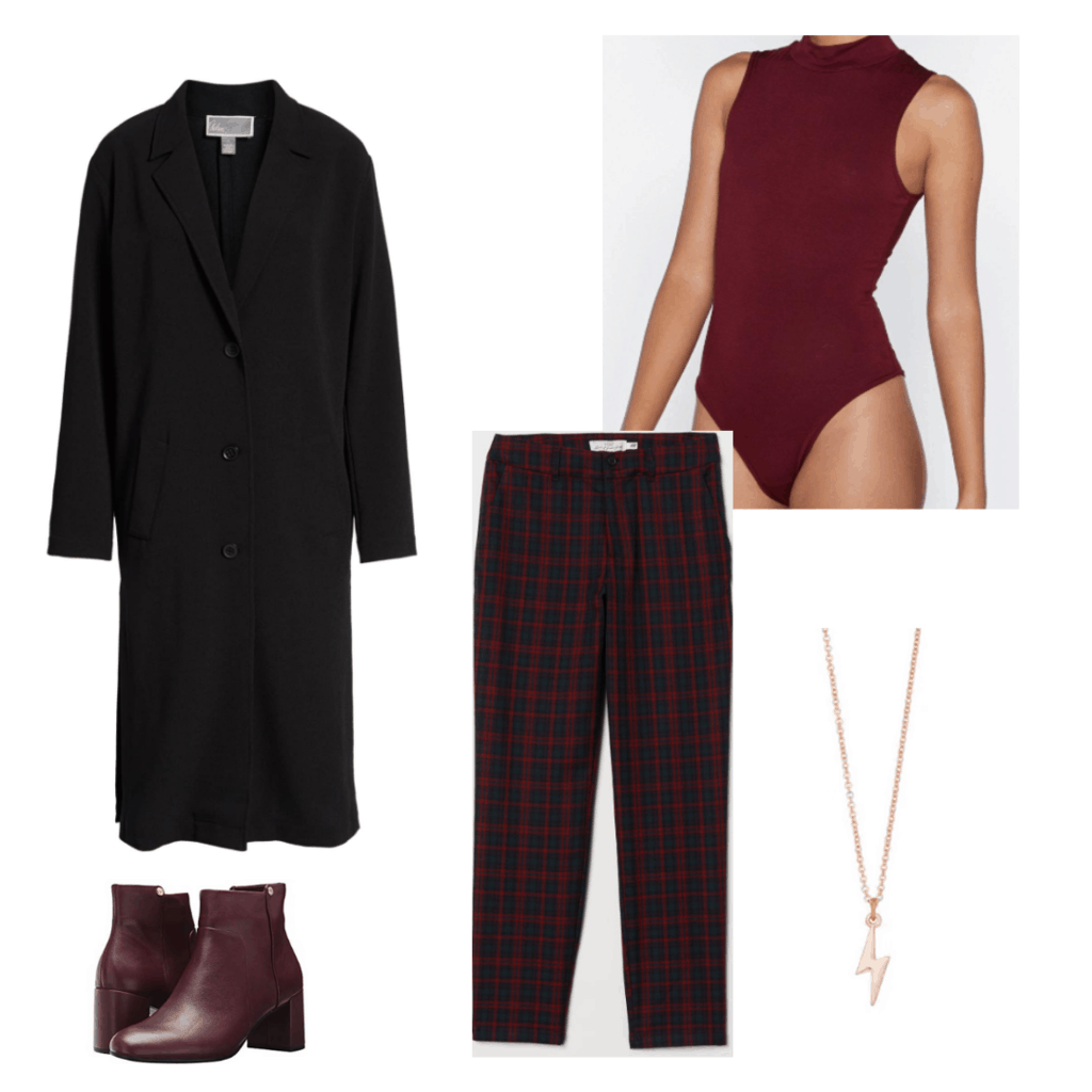 Outfit inspired by The Flash TV show: Plaid trousers, burgundy bodysuit, long black coat, brown boots