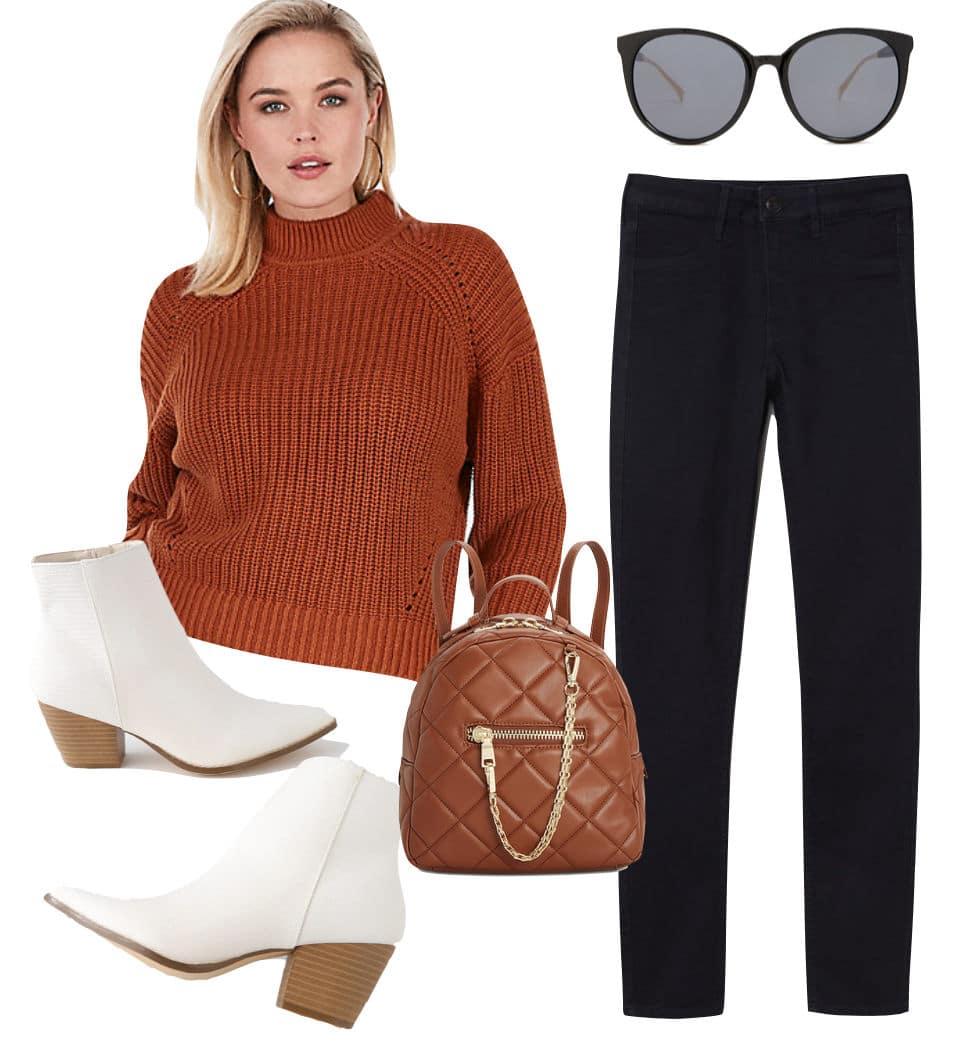 Hilary Duff Outfit: black skinny jeans, brown mock neck sweater, black round frame sunglasses, brown quilted chainlink backpack, and white ankle booties