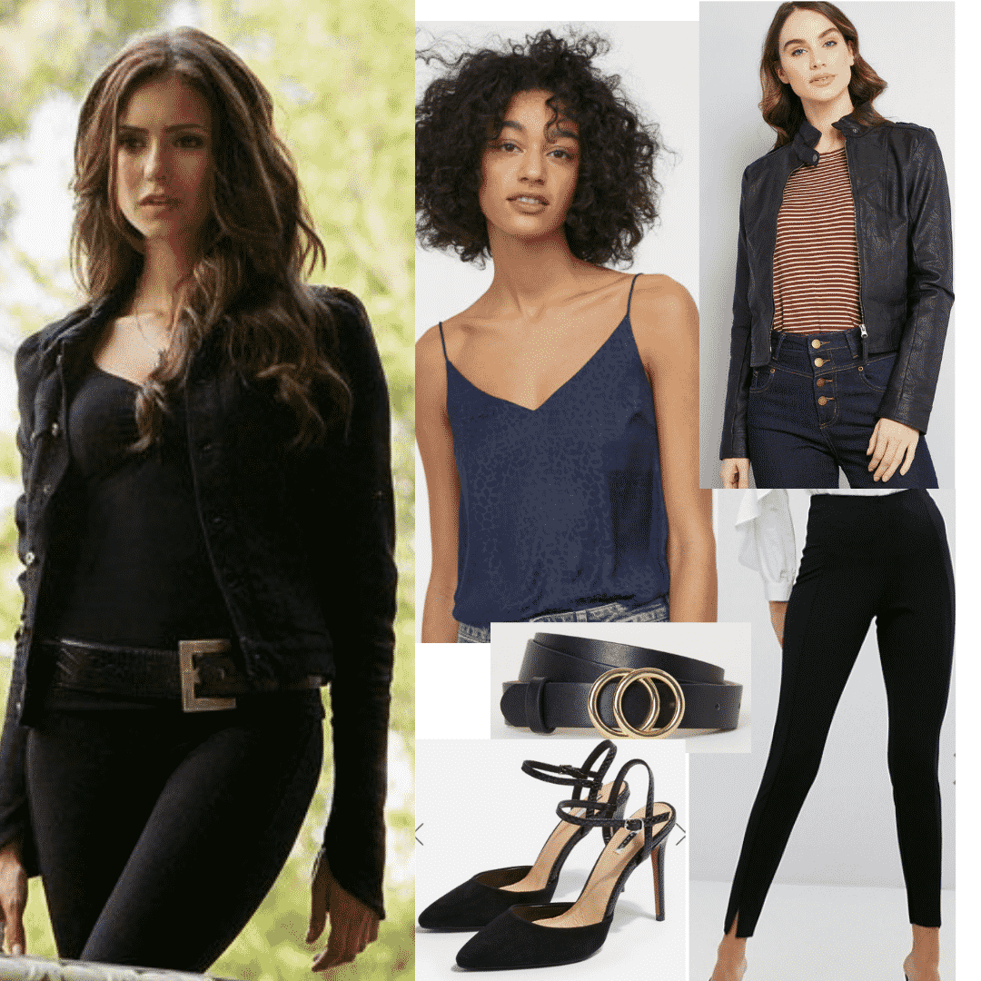 Katherine Pierce style: Outfit inspired by Katherine Pierce from The Vampire Diaries with black top, black jeans, leather jacket, heels