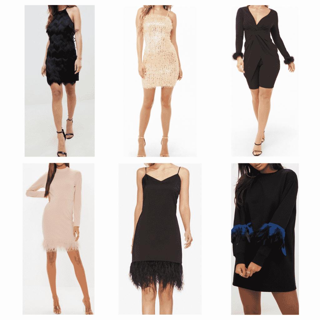 Feather Dresses: Halter Dress, Long Sleeve Dress, Sequin Feather Dress, Cami Dress, Feather Cuff Dress, Sweater Dress
