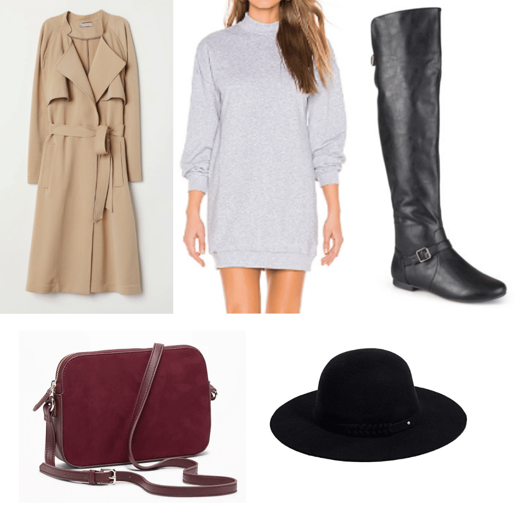 Kazan Russia outfit: Gray sweater dress, boots, trench coat, burgundy crossbody bag, felt hat