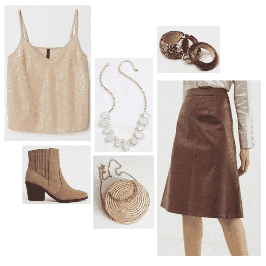 Daenerys Targaryen outfit with brown skirt, western boots, woven purse, tank