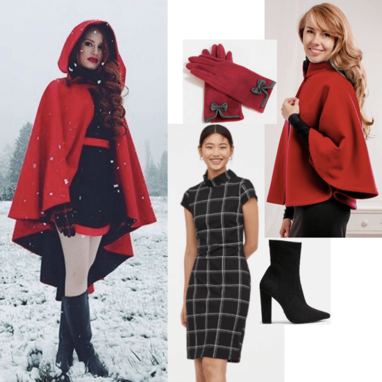 Cheryl Blossom style from Riverdale outfit: Red cape, plaid dress, ankle boots, red gloves