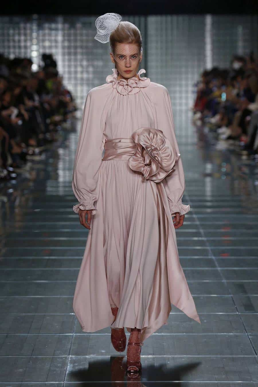 marc jacobs pink dress with puff sleeves