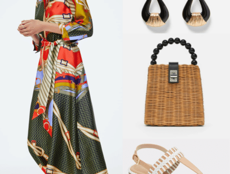 Modest outfit for wearing in Marrakesh: Patterned long sleeve dress, neutral sandals, woven handbag, doorknocker earrings
