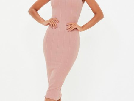 Cute high neck bandage midi dress in pink