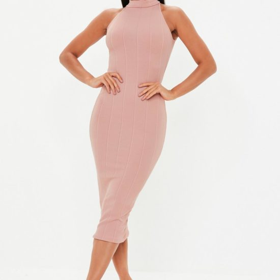 Cute high neck bandage midi dress in pink