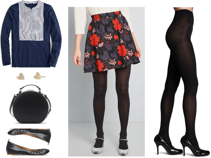 Outfit for meeting boyfriend's parents: Floral skirt, striped top, circle bag, ballet flats, tights