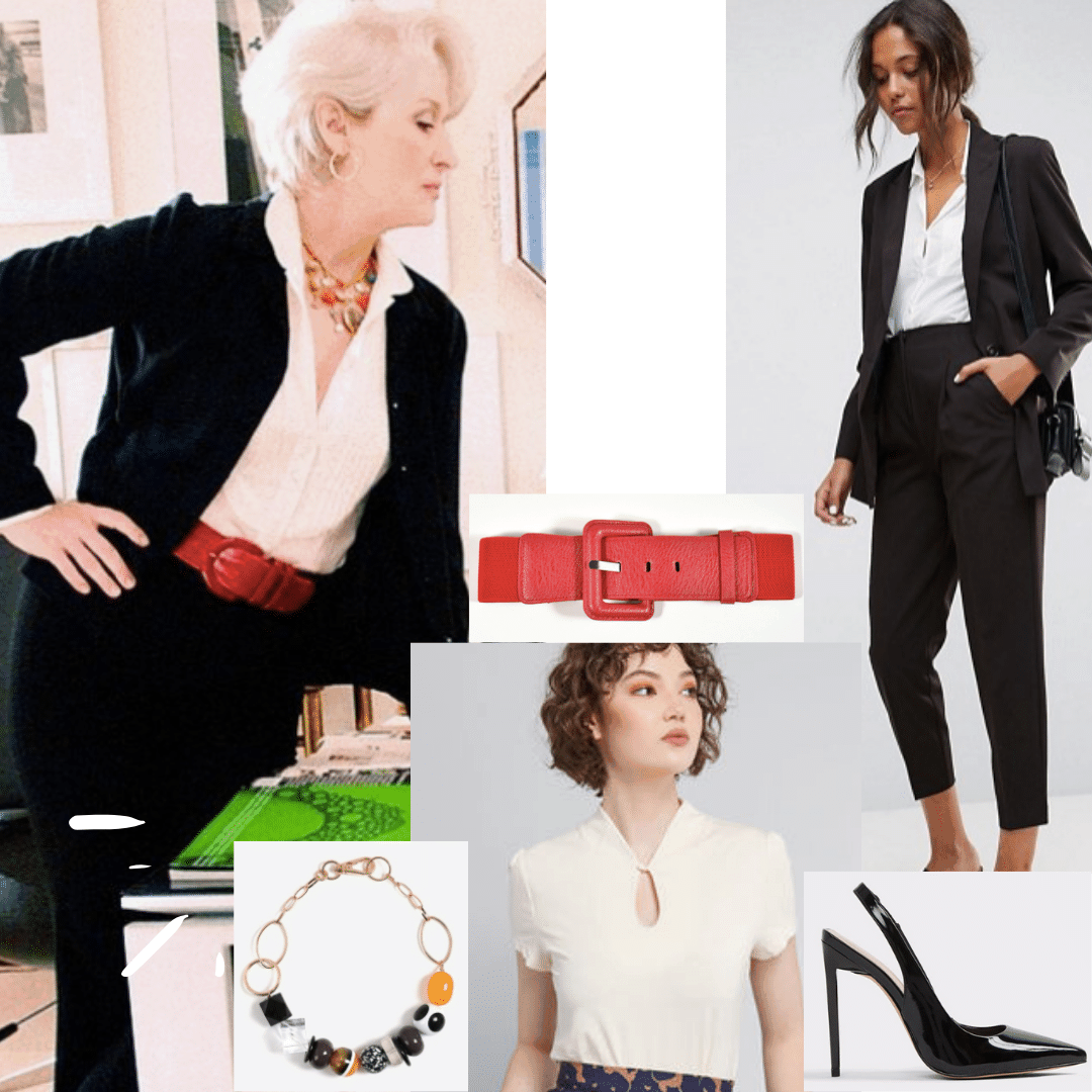 Miranda Priestly outfit from Devil Wears Prada: Black suit, red belt, statement necklace, black pumps, cream blouse