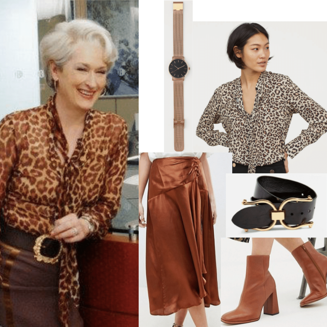 Miranda Priestly outfit from Devil Wears Prada: Leopard print blouse, copper skirt, brown boots, black belt, watch