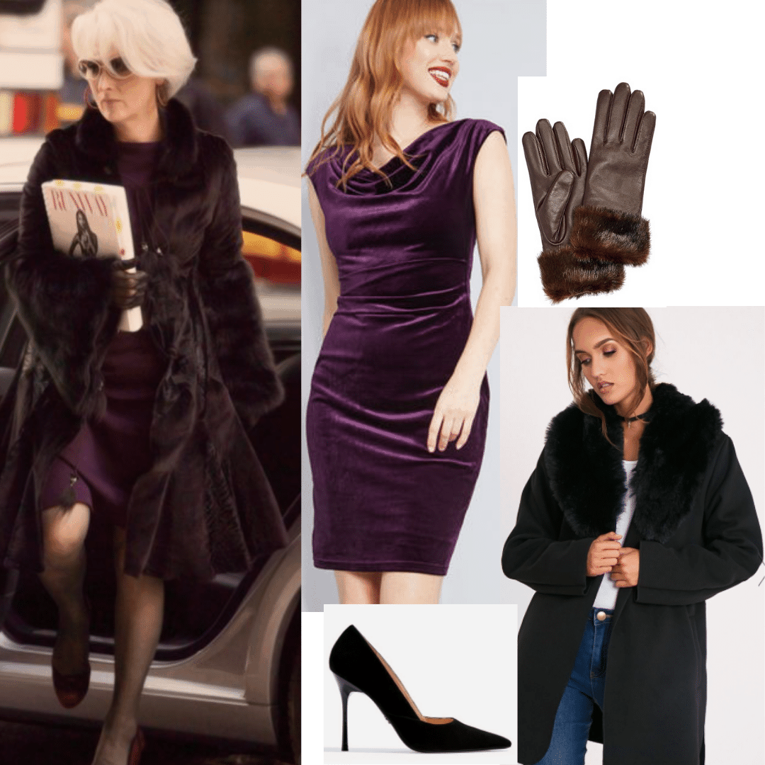 Miranda Priestly outfit with faux fur coat, purple cowl neck dress, leather gloves, suede pumps