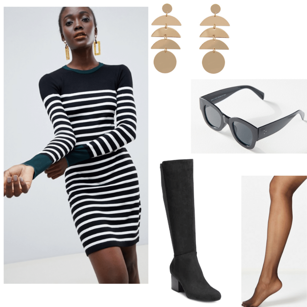 Factory Girl style: Black striped mini dress, black knee high boots, tights, black sunglasses, gold earrings