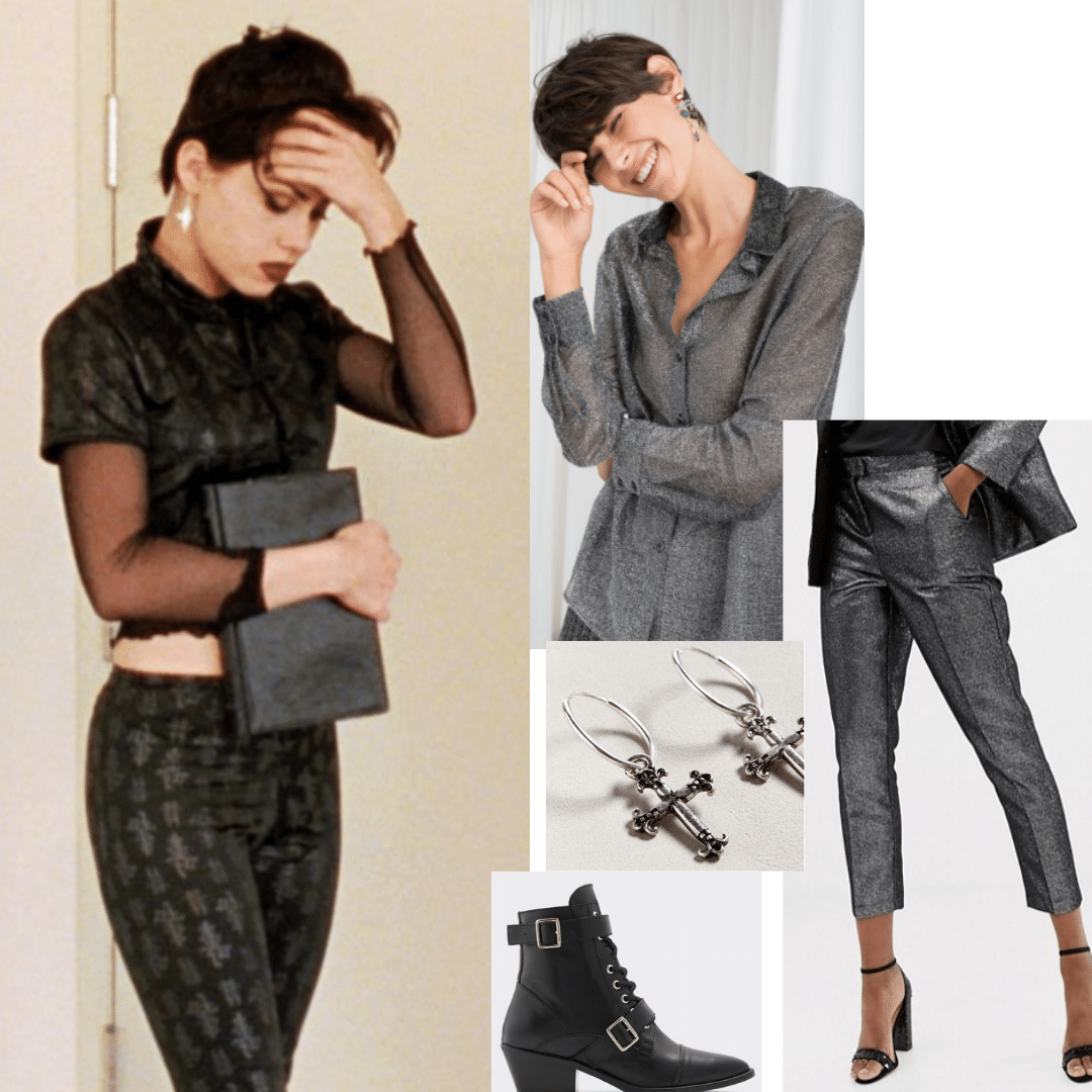 Outfit inspired by Nancy in The Craft: Sheer blouse, gray dress pants, buckled ankle boots, cross earrings